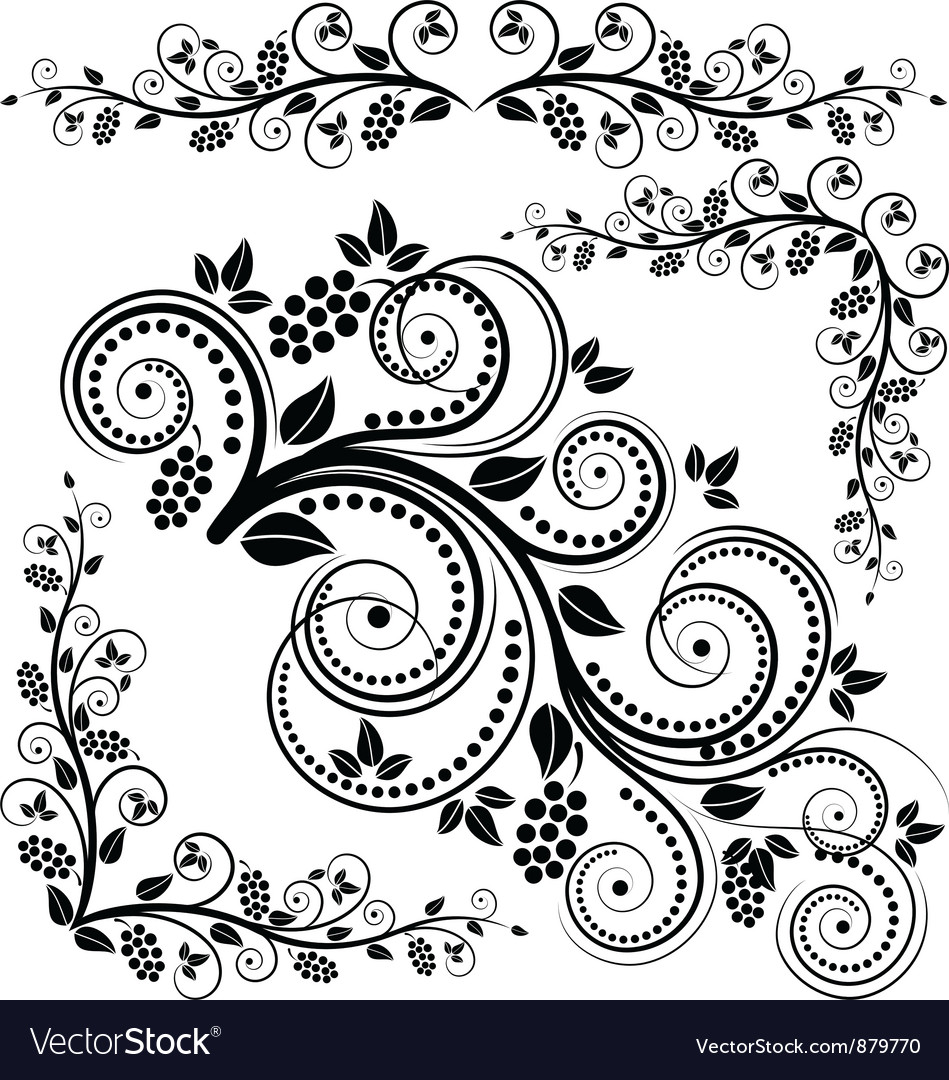 Floral corners and ornaments vector
