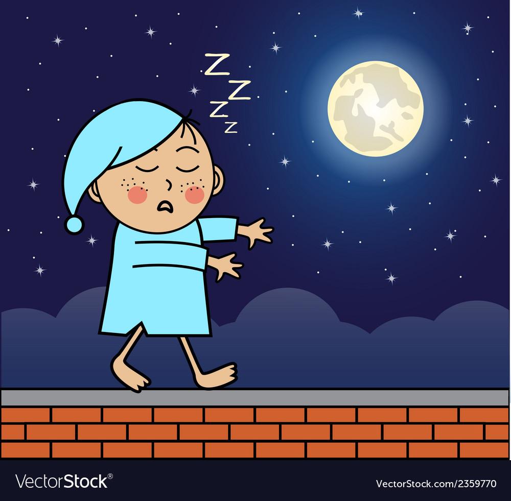 Sleepwalker walking on the roof vector