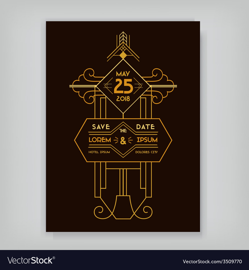 Wedding invitation card - art deco vintage style vector