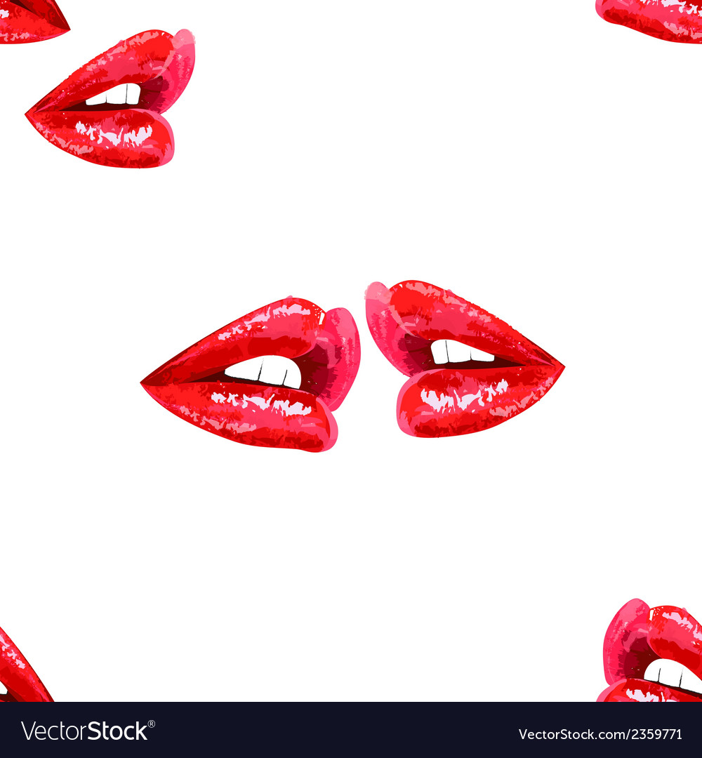 White seamless pattern with red lips vector