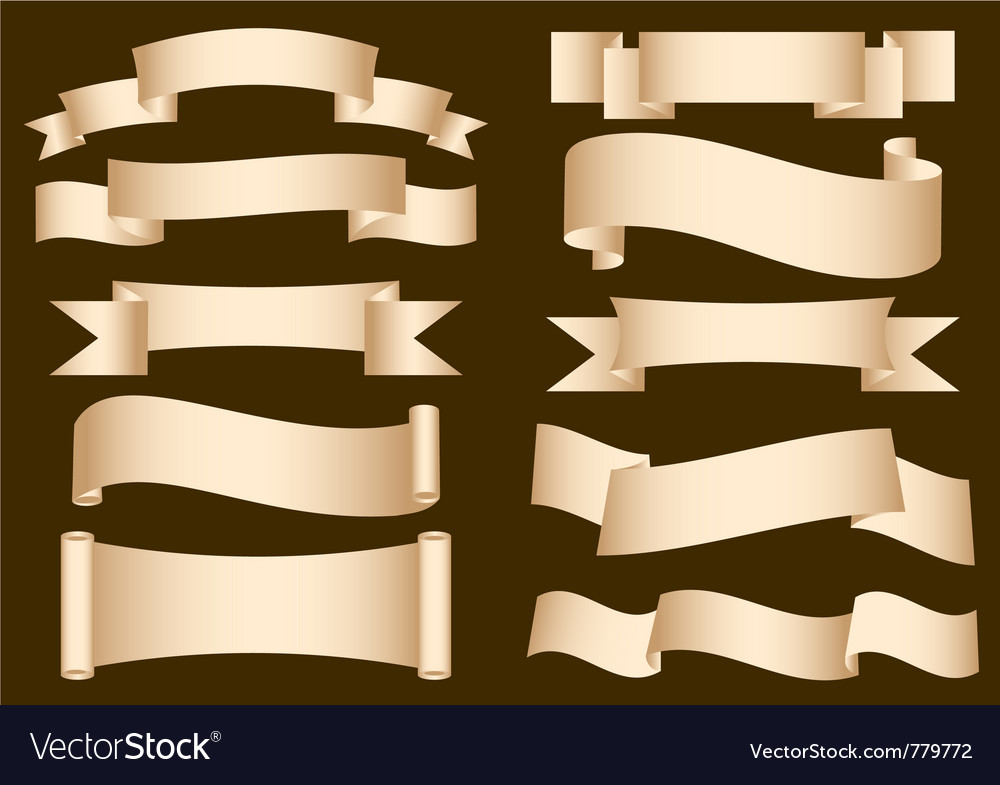 Banner ribbon scroll collection vector
