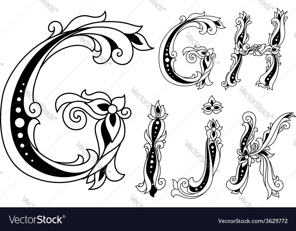 Letters g h i j and k in retro floral style vector