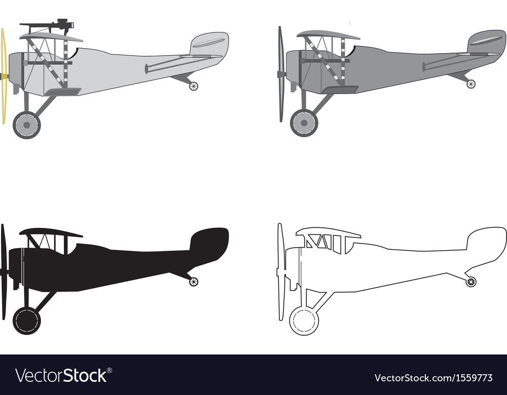 Model airplane retro biplane vector