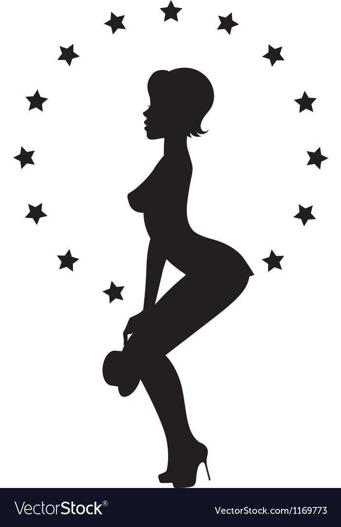 Silhouette girl stripper vector