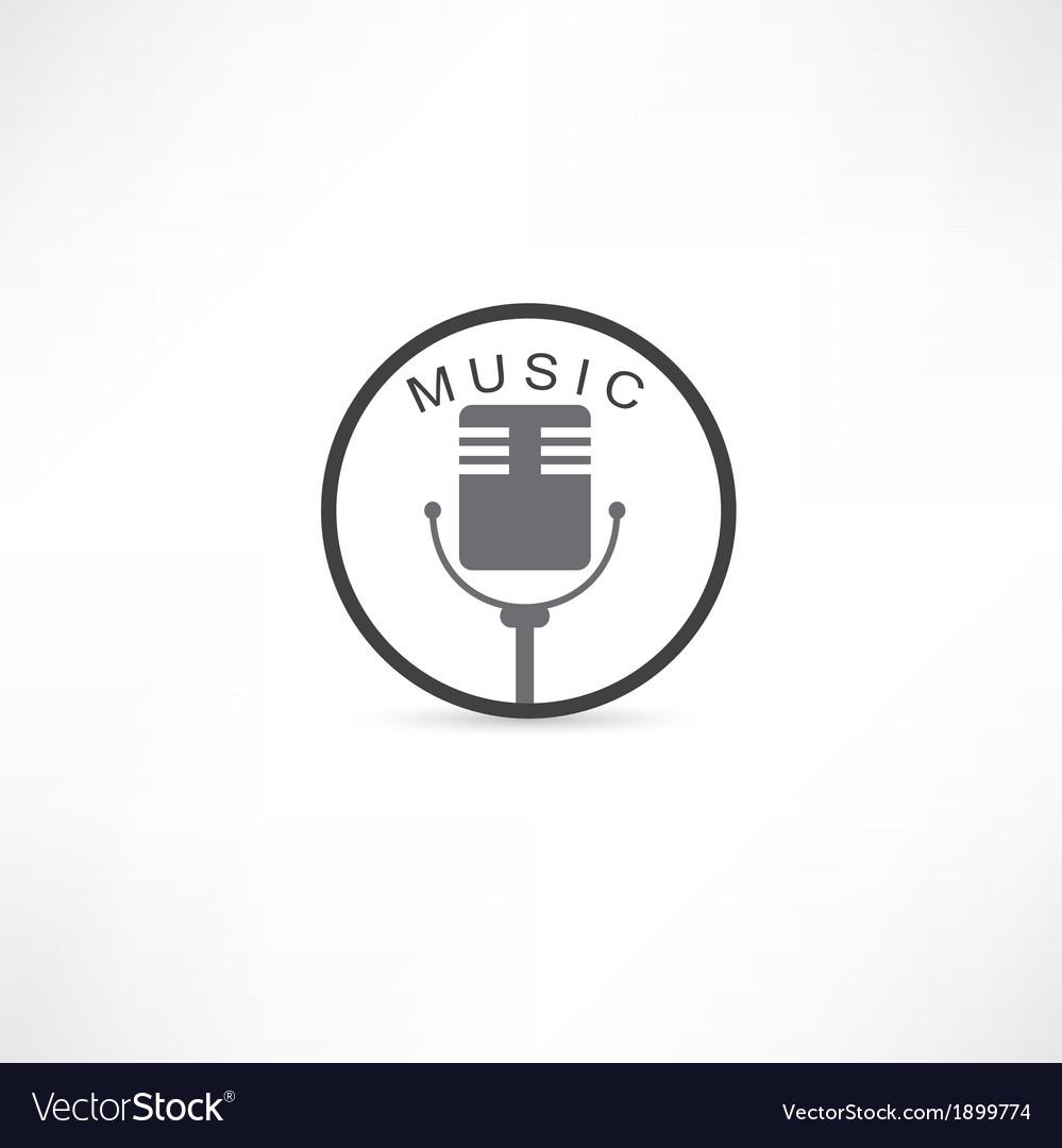 Mic grunge icon vector
