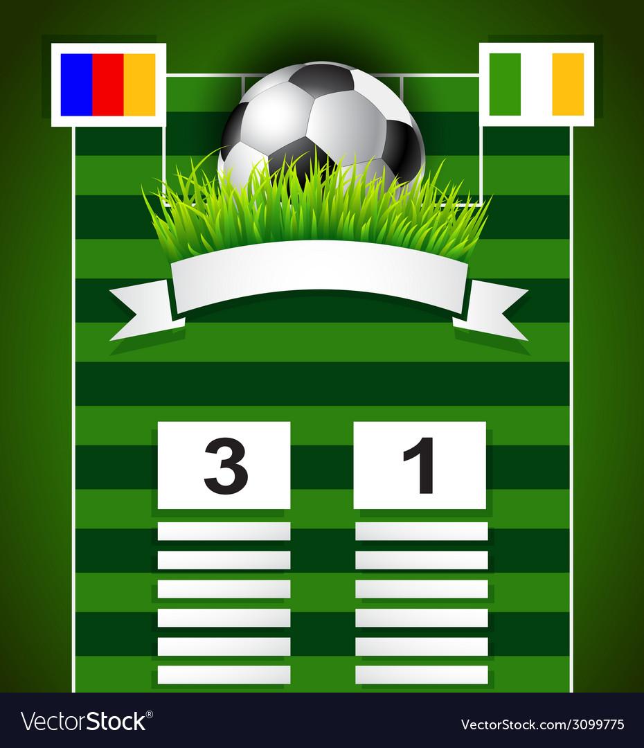 Football scoreboard design on field vector
