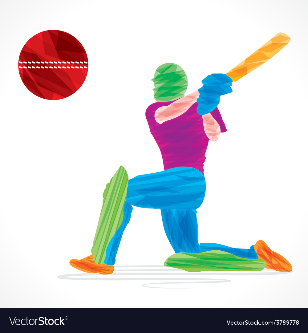 Colorful cricket player hit the big ball  sketch vector