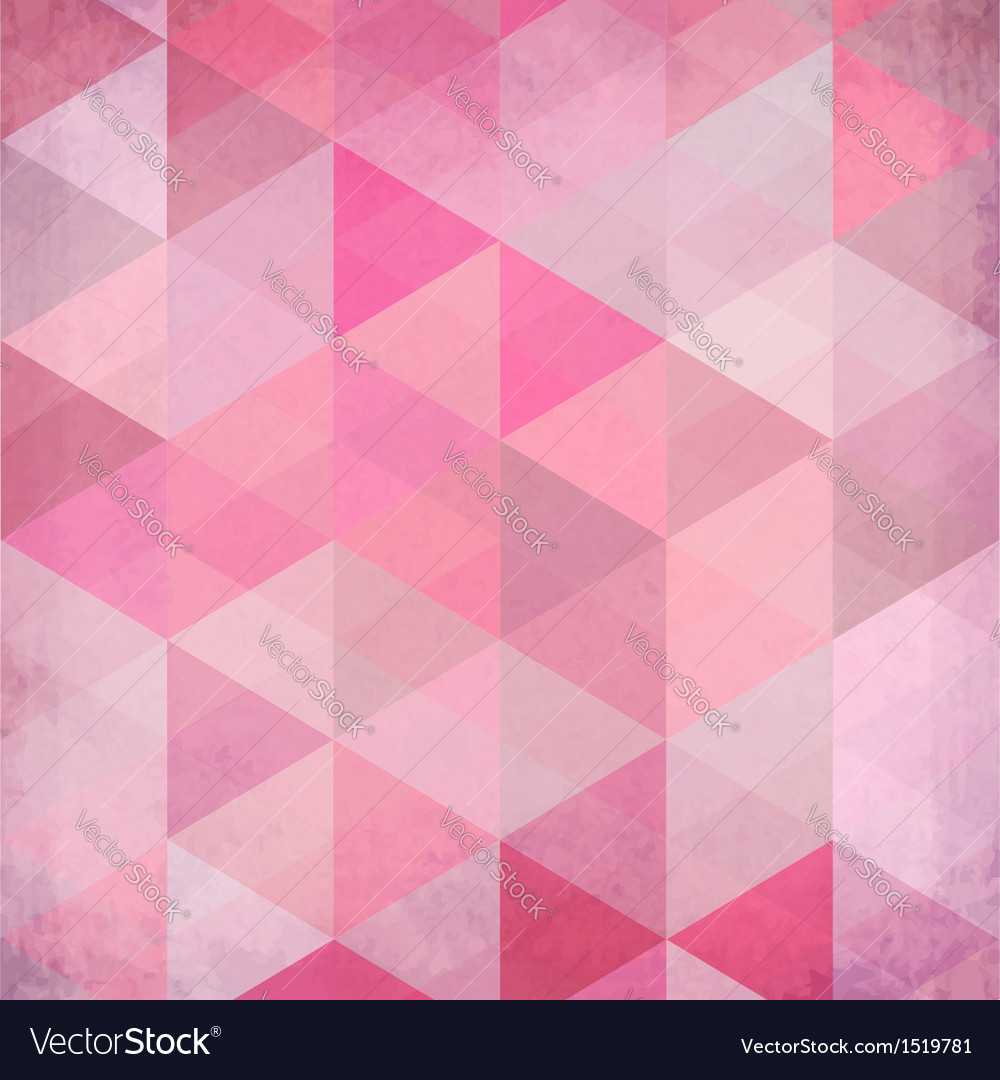 Abstract triangles vintage pink background vector