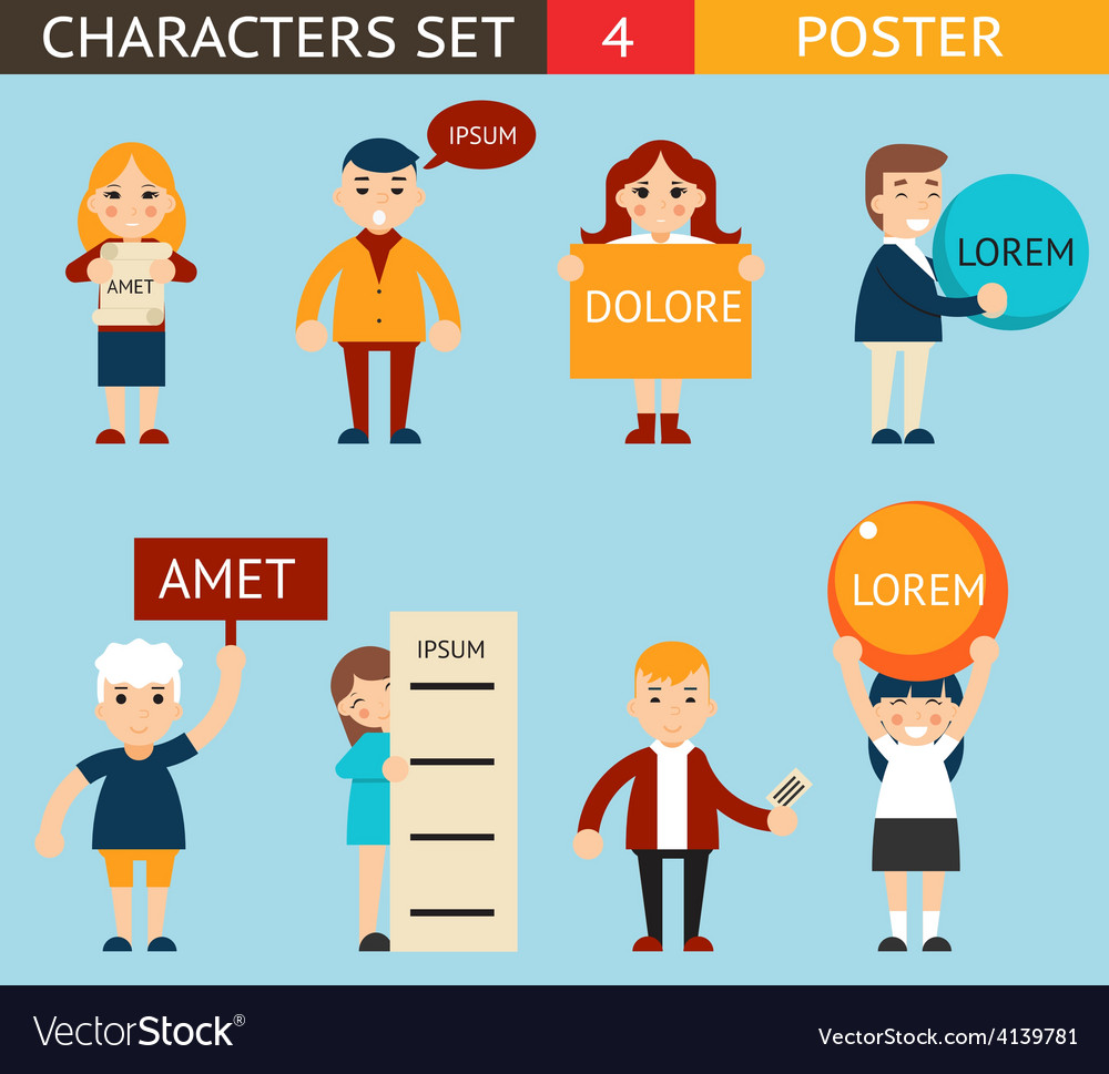 Business male and female characters with billboard vector