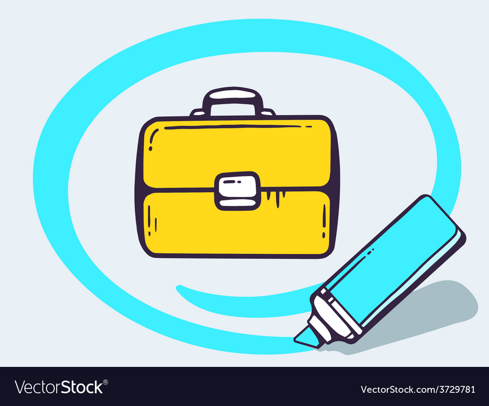 Marker drawing circle around briefcase on vector