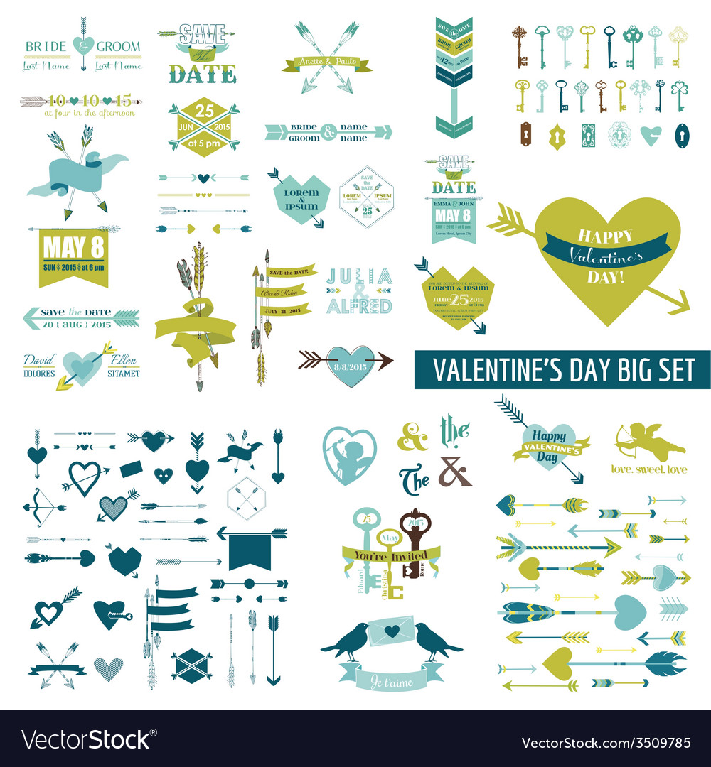 Huge valentines day set - over 100 elements vector