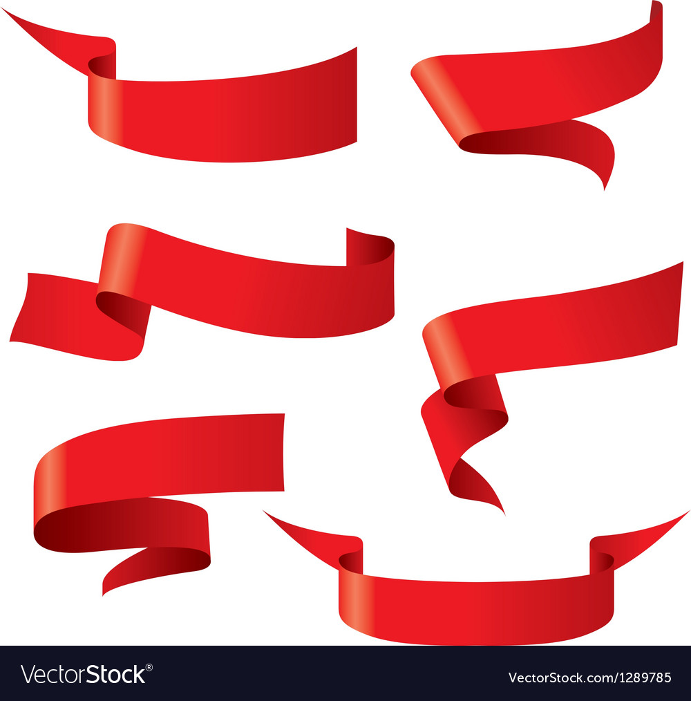 Red ribbon patterns vector