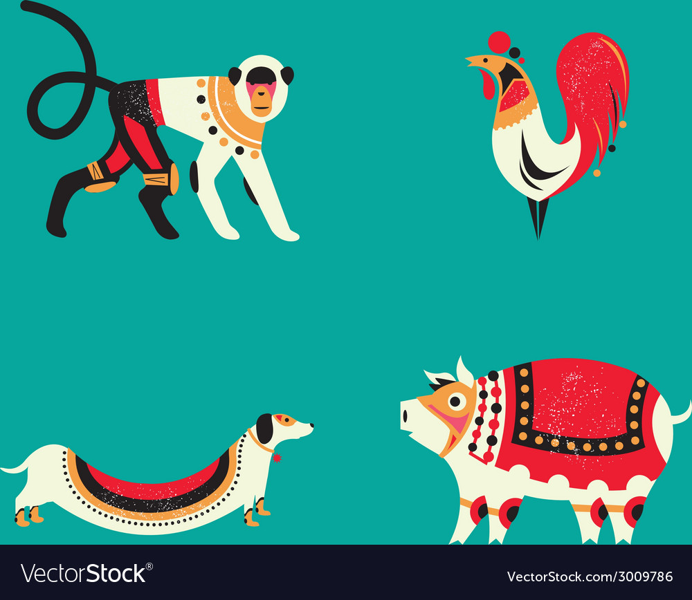 12 chinese horoscope zodiac part c vector