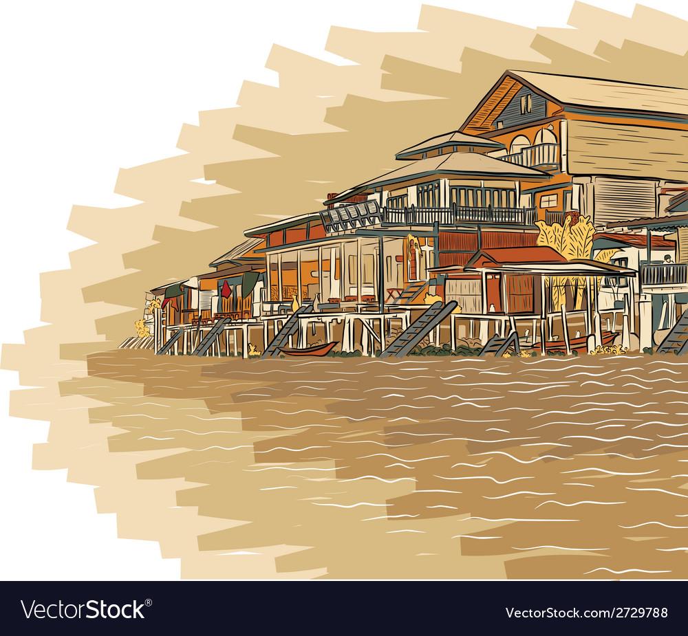 Canalside buildings vector
