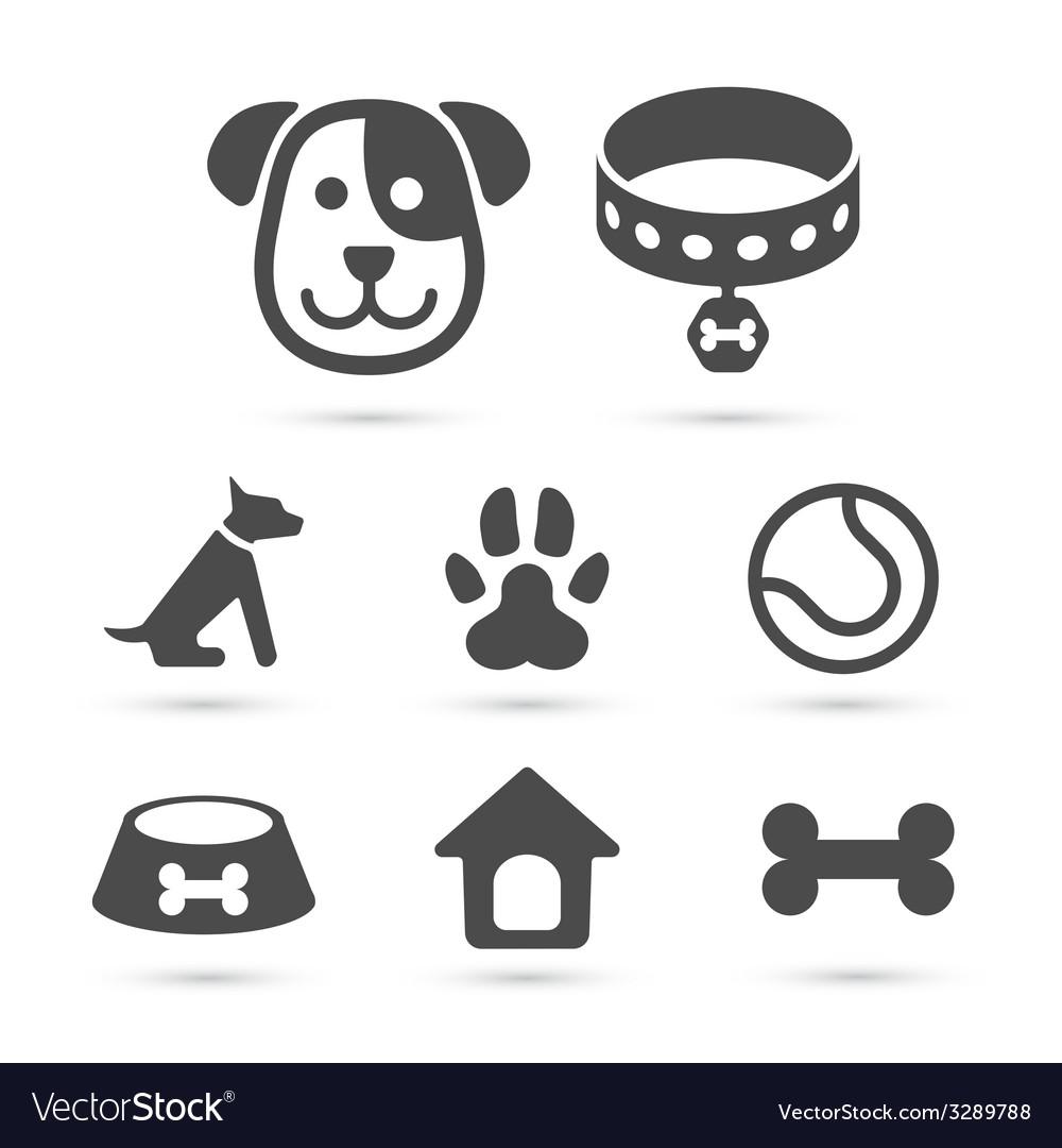Cute dog icon symbol set on white vector
