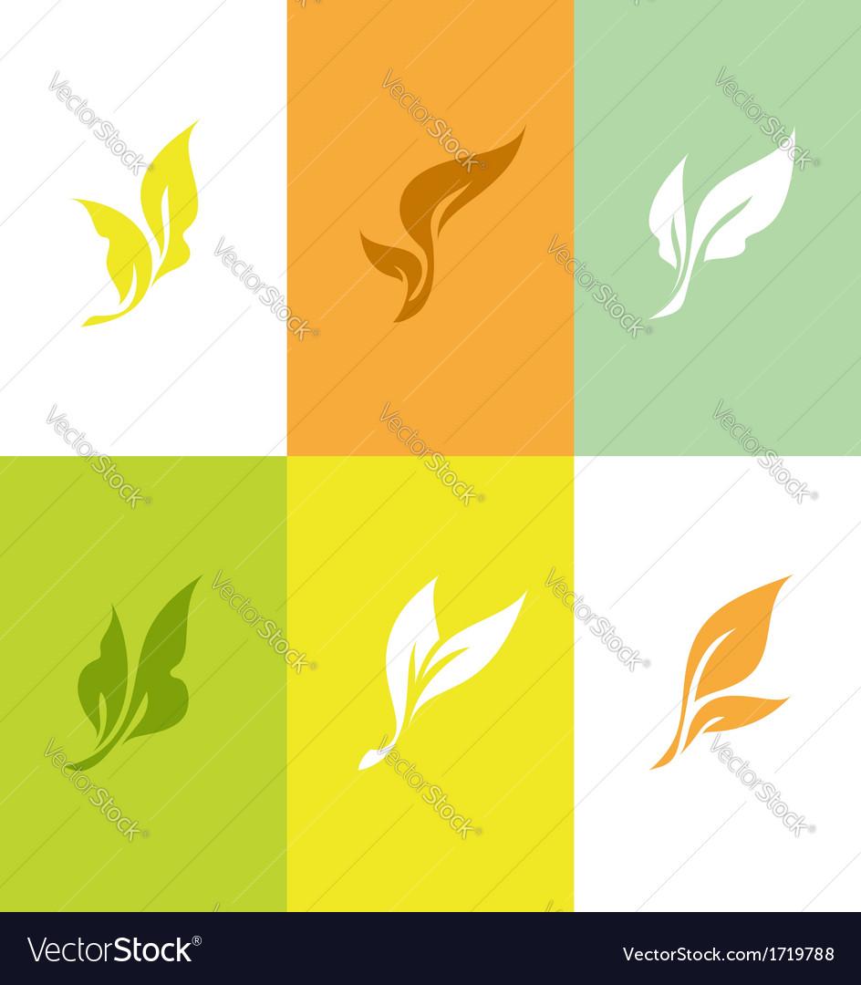 Leaf set of elegant design elements vector