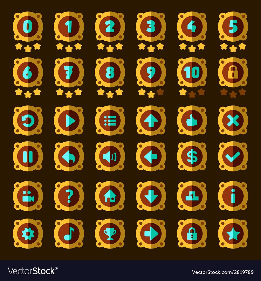 Steam punk flat game buttons set vector