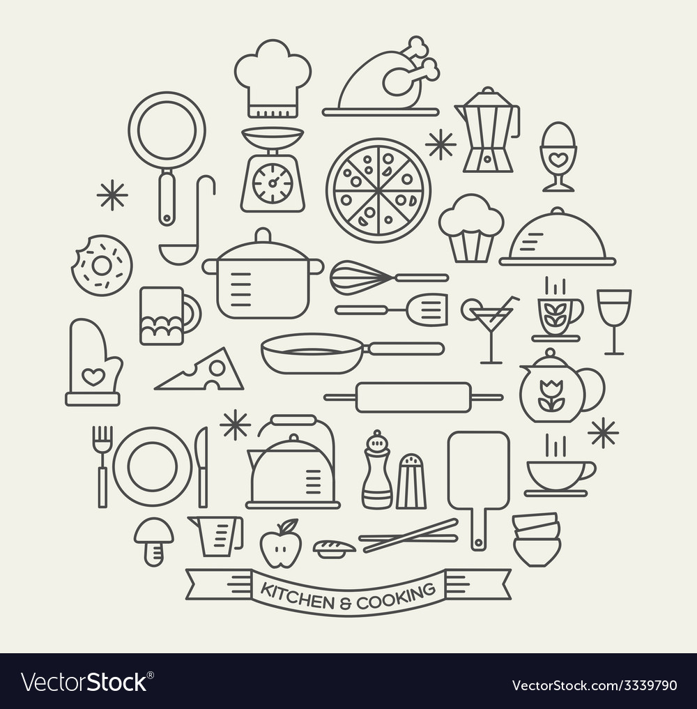 Cooking foods and kitchen outline icons set vector