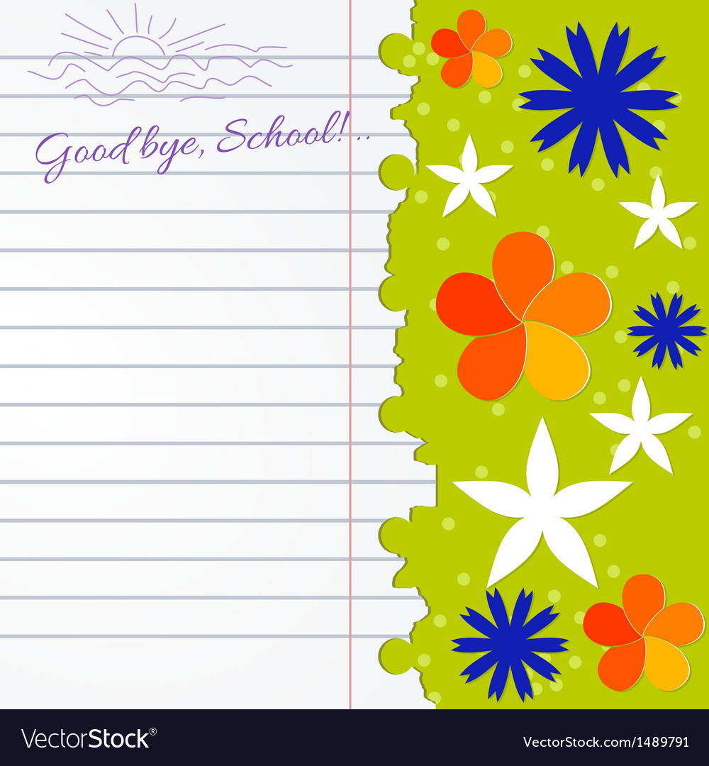 Abstract background with notebook and color flower vector