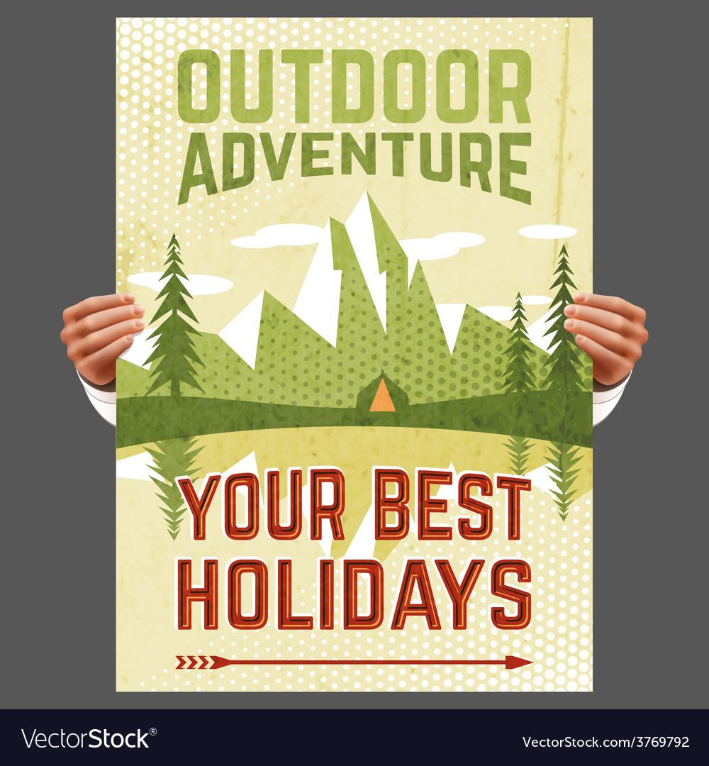 Outdoor adventure tourism poster vector