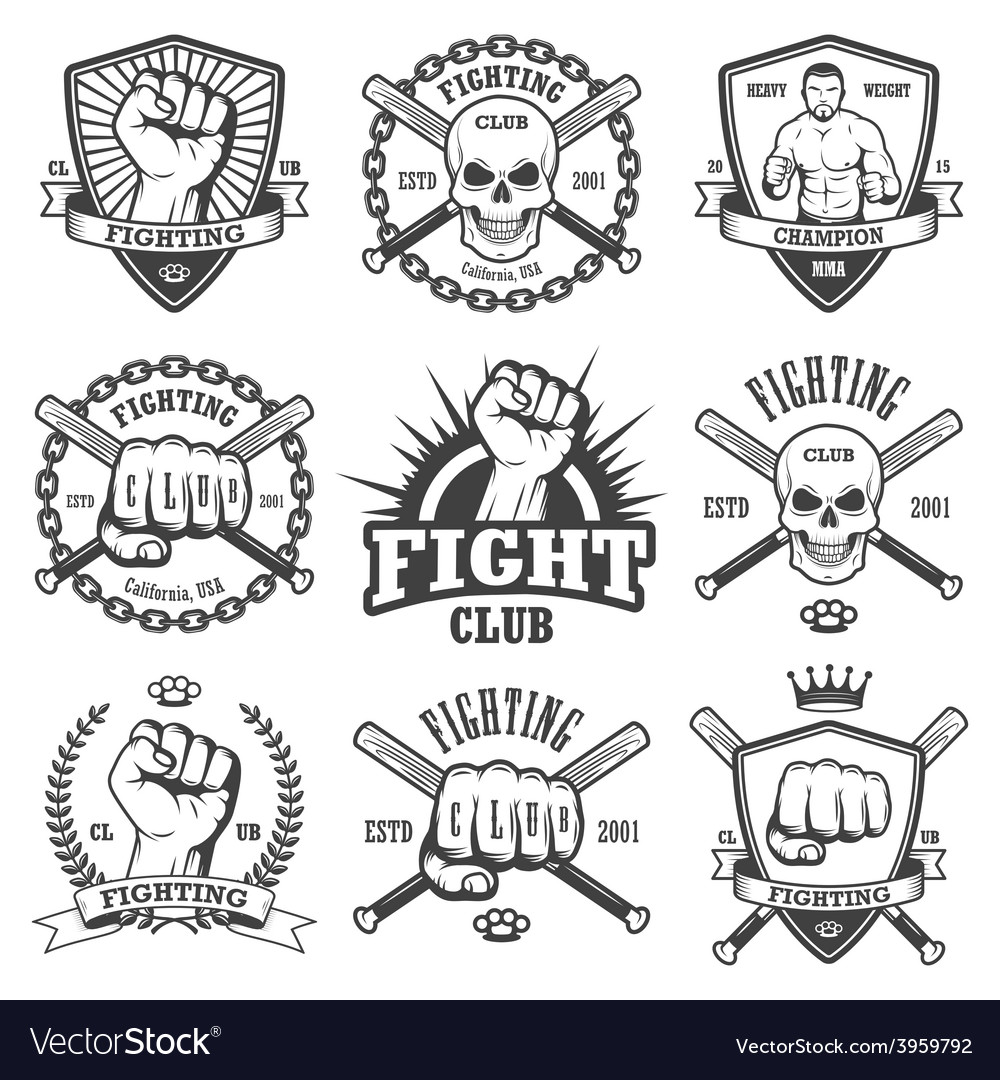 Set of cool fighting club emblems vector