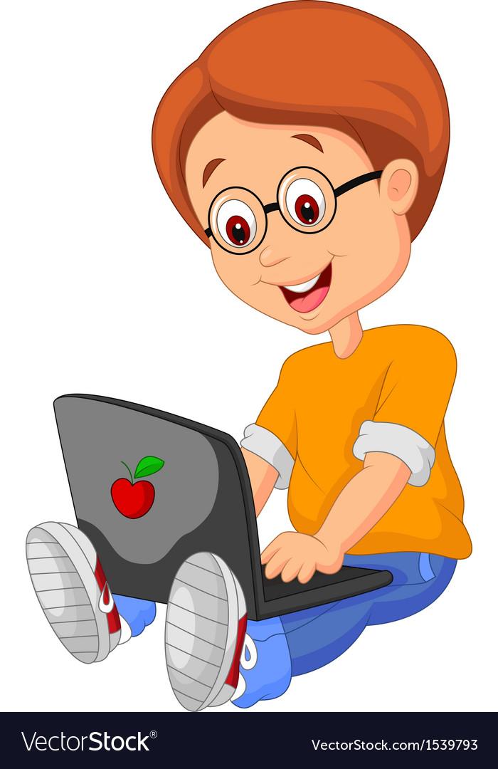 Boy cartoon with laptop vector