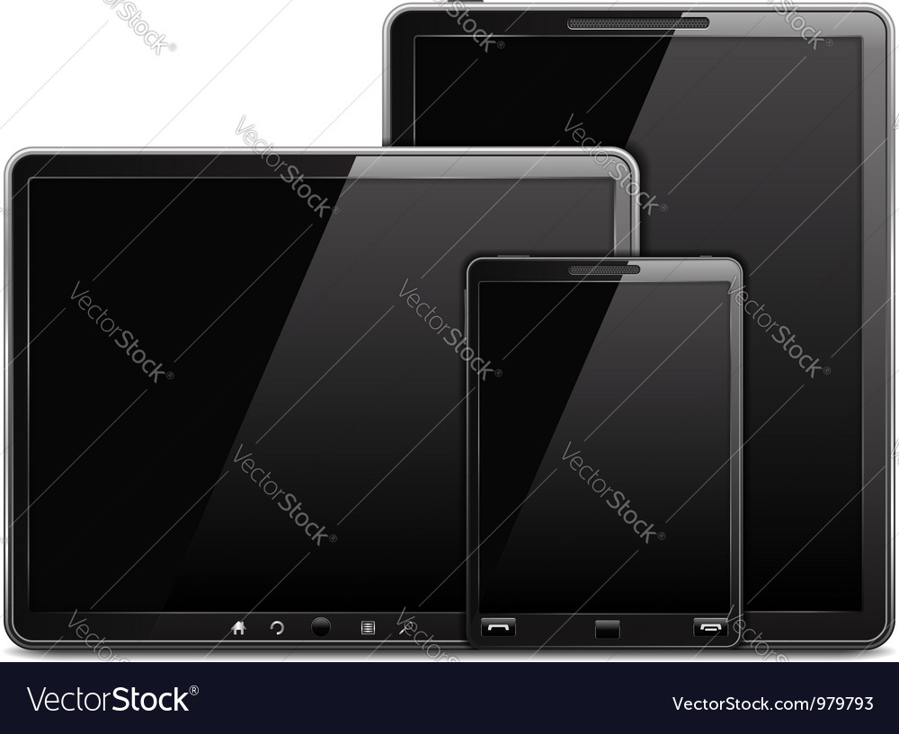 Tablet computer and mobile phone vector