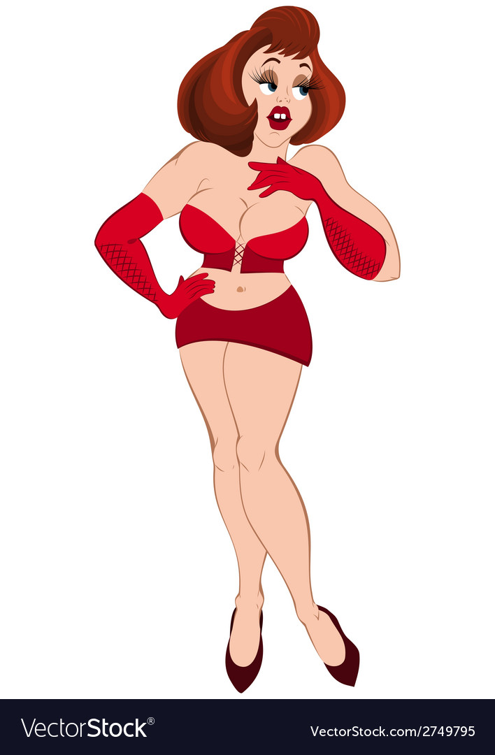 Cartoon girl in red mini skirt and gloves vector