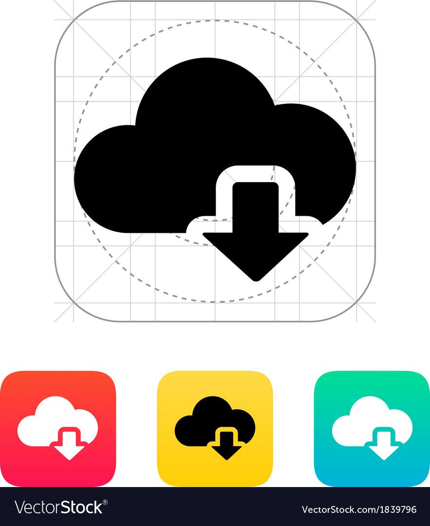 Cloud computing download icon vector