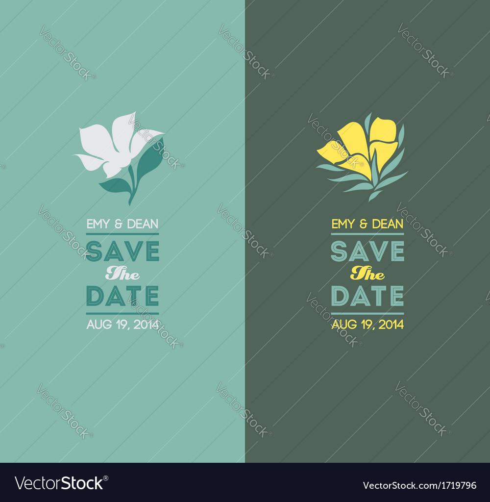 Elegant flowers wedding graphic set vector