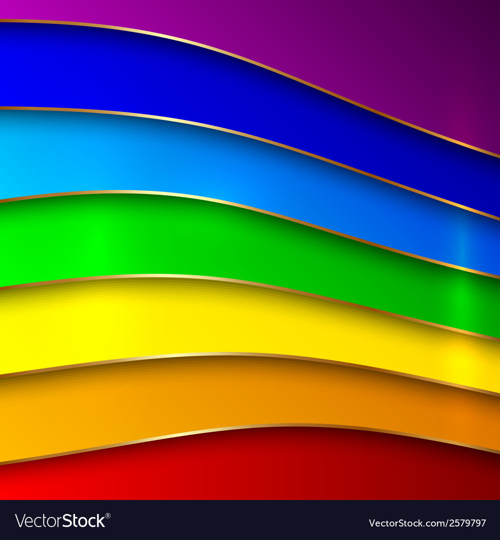 Abstract round rainbow curve lines with golden vector