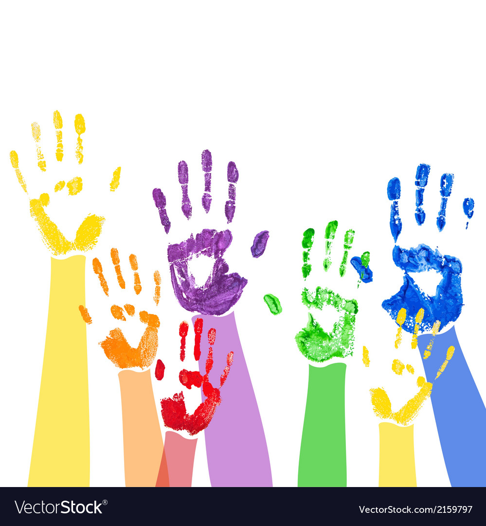 Background with multicolored paint hands vector