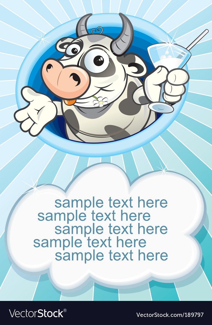 Milk and cow vector