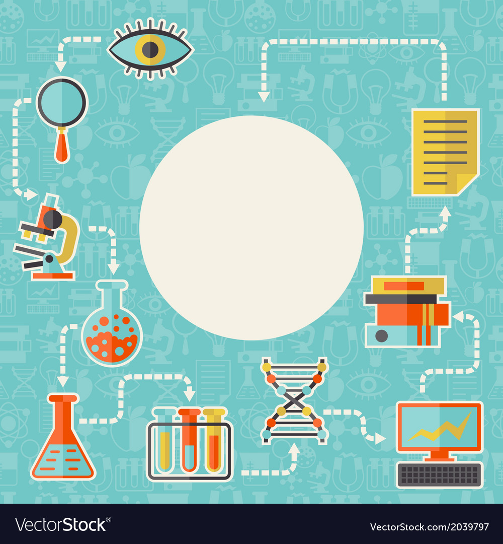 Science concept background in flat design style vector