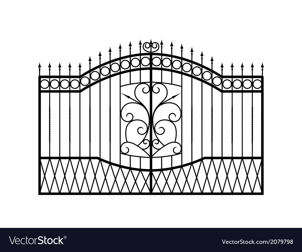 Forged gate isolated on white background vector