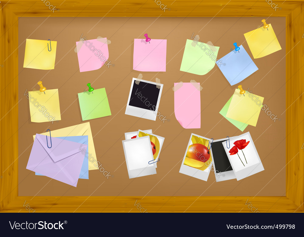 Office supplies on brown desk vector