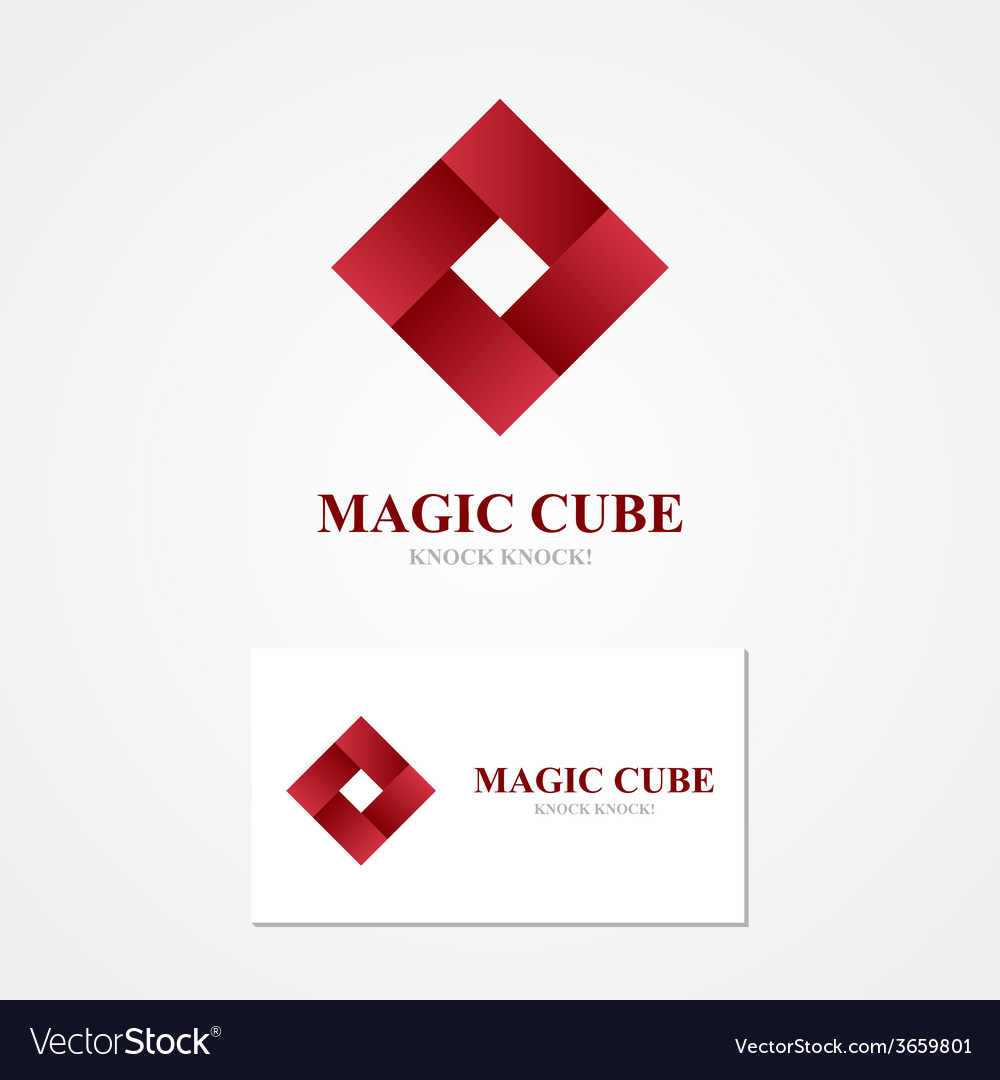 Square logo with business card template vector