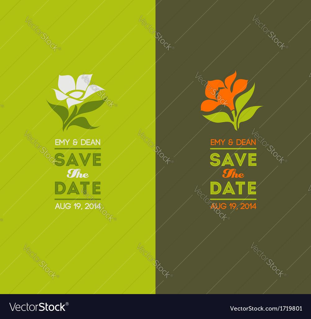Wedding graphic set with elegant flowers vector