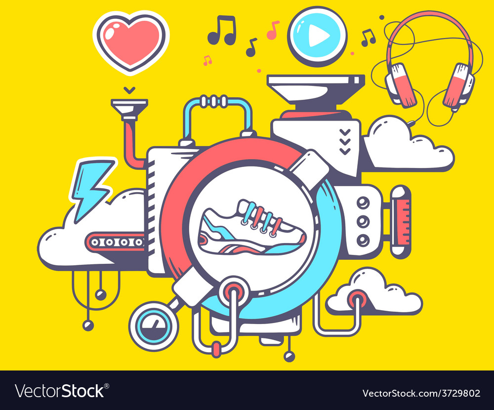 Mechanism with sneaker and relevant icons vector