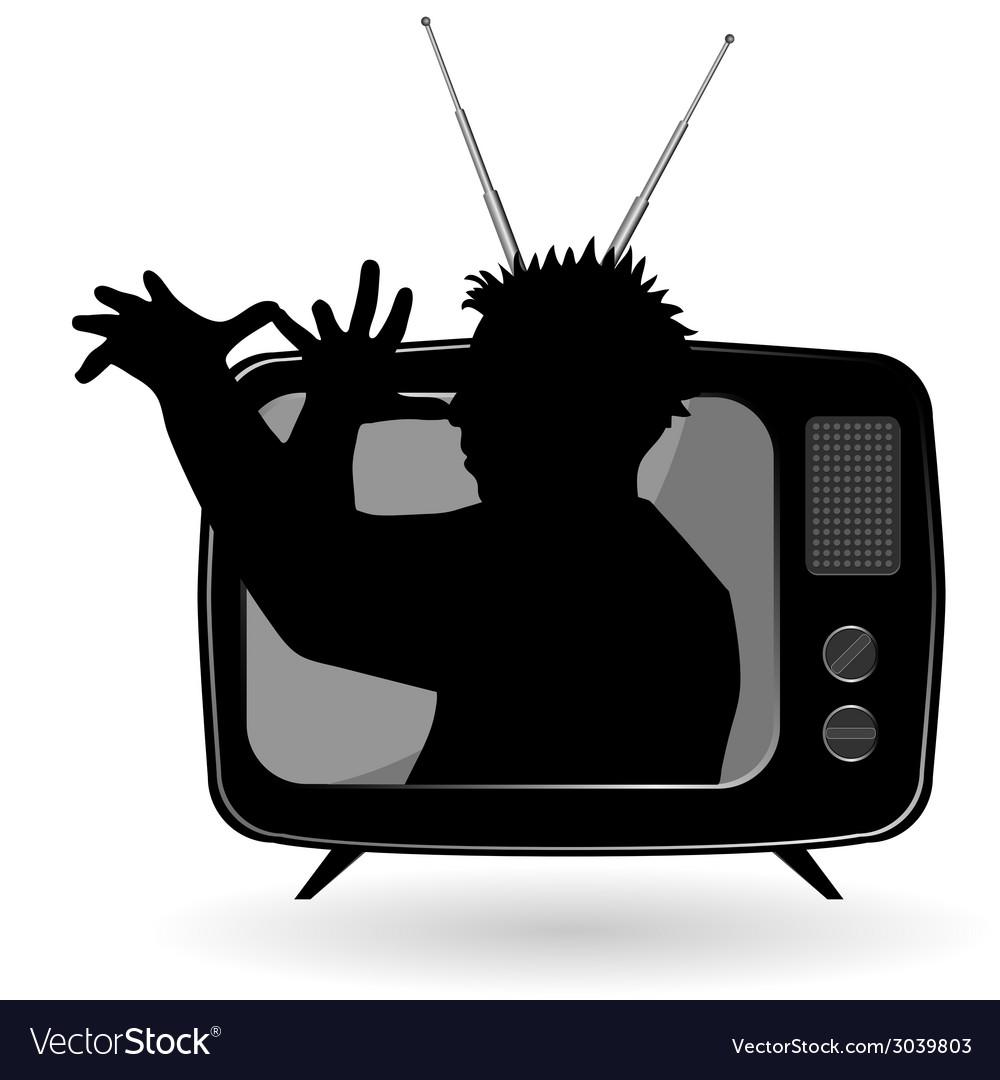 Man mocks with tv vector