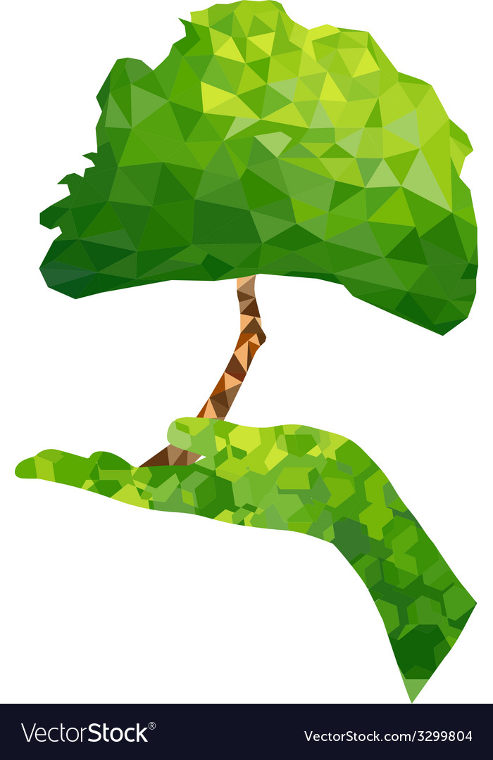 Ecology concept tree and hand geometric vector