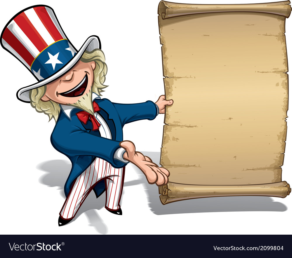 Uncle sam presenting declaration vector