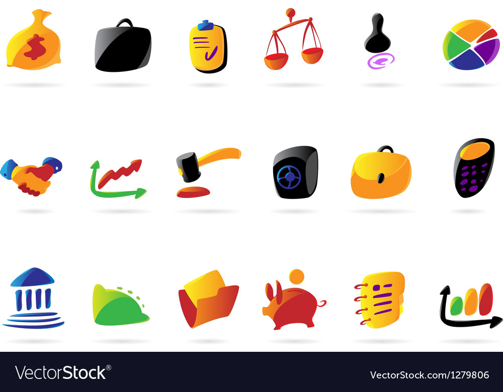 Colorful business finance and legal icons vector