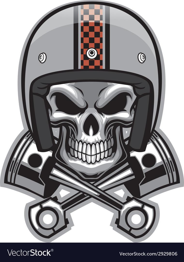 Skull and crossed piston vector