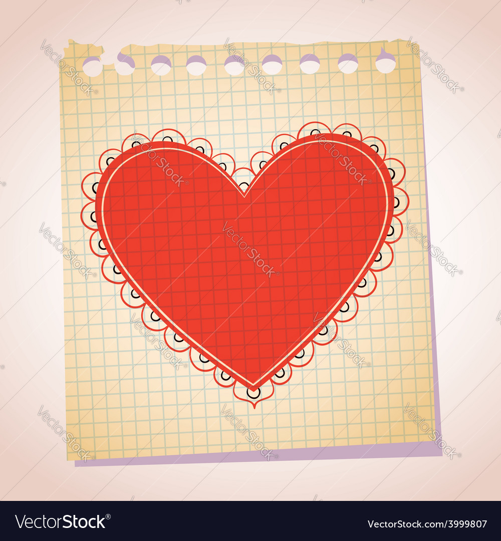 Heart note paper cartoon vector