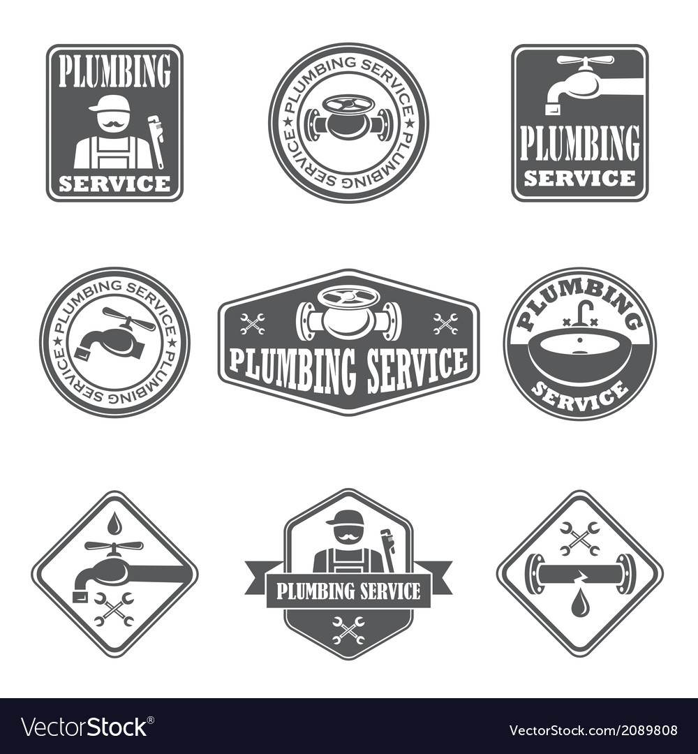 Plumbing service badges vector