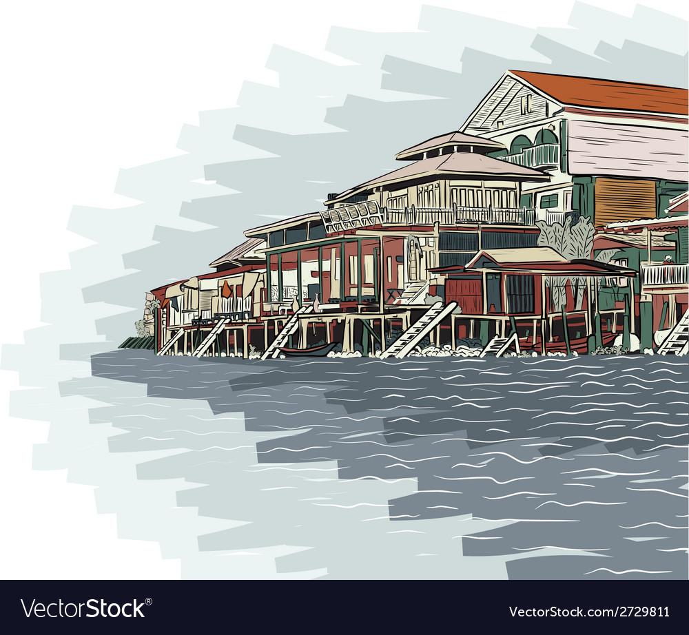 Waterside buildings vector