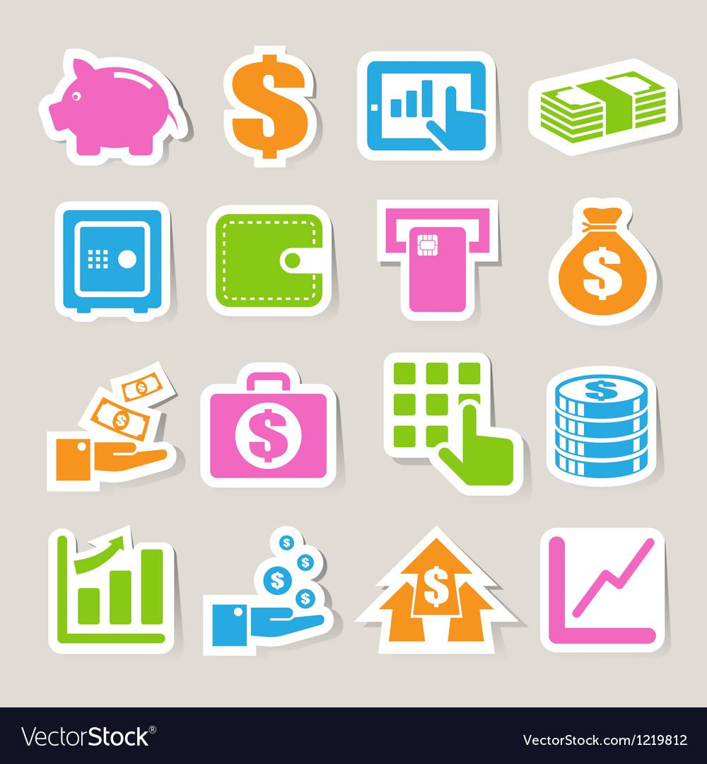 Finance money sticker icon set vector