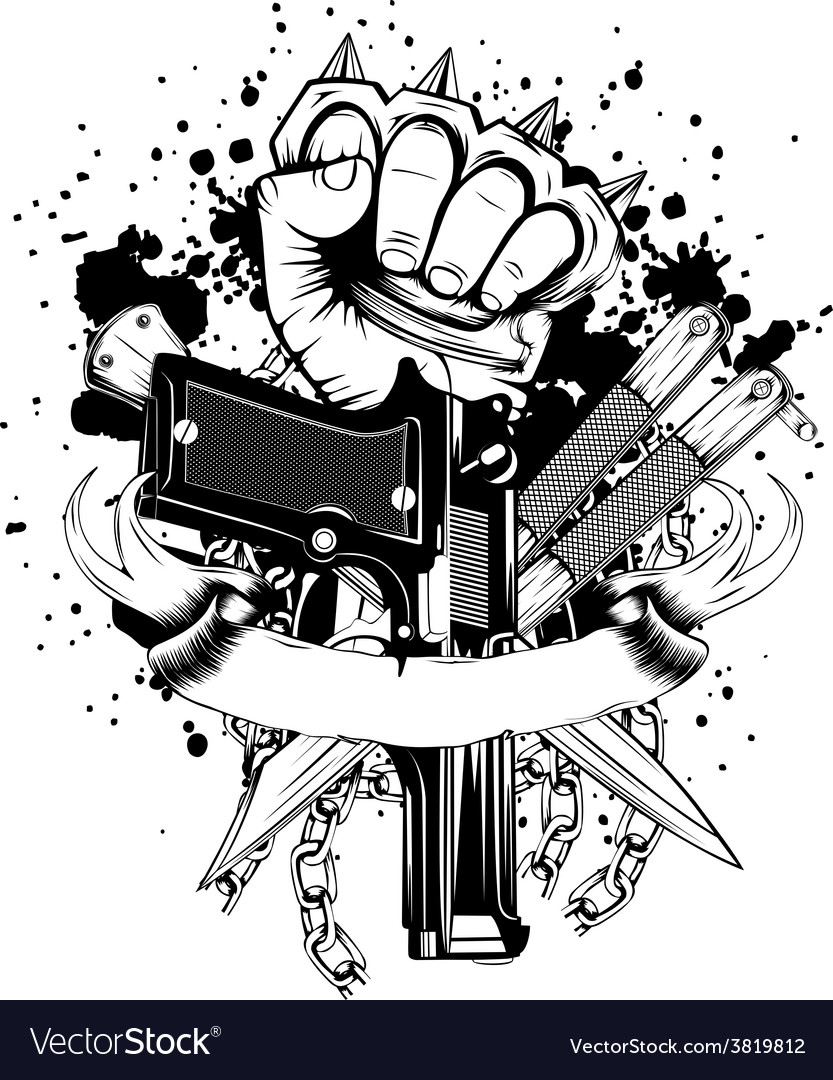 Hand with knuckledusters pistols knifes vector