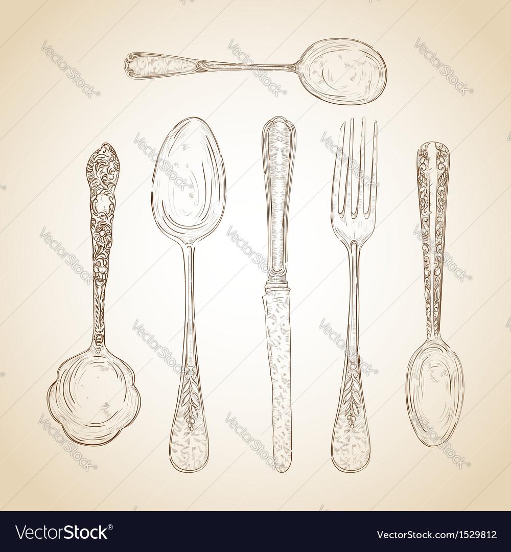 Vintage cutlery hand drawn set vector